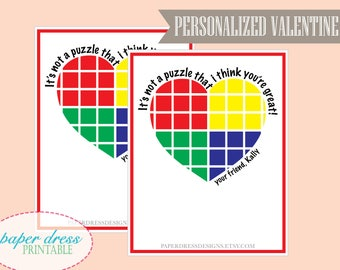 Its not a puzzle I think you're great Valentine Rubix Cube Rubik's Cube® - Kids Valentine - Printable PDF