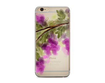 Ready To Ship - Inexpensive gift for women, Floral Iphone 6/6s plus case with clear back, Purple Transparent   (1732)