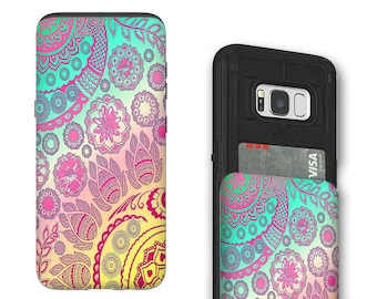 Pastel Paisley Galaxy S8 Card holder Case - Cotton Candy Mehndi - Credit Card Case for Samsung Galaxy S8 with Rubber Sides by Da Vinci Case
