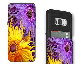 Purple and Yellow Daisy Galaxy S8 Card holder Case - Daisy yin Daisy yang - Wallet Case for Samsung Galaxy S8 with Rubber Sides