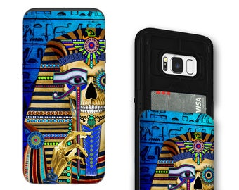 Egyptian Sugar Skull Galaxy S8 Card holder Case - Funky Bone Pharaoh - Wallet Case for Samsung Galaxy S8 with Rubber Sides by Da Vinci Case