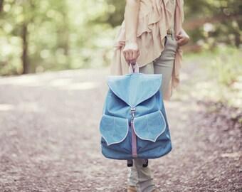 Baby Blue Leaf Bohemian Backpack, Women's Rucksack, Waterproof Bag, Festival Backpack, Grunge Backpack,Leaf Bag, Collage Backpack