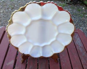 Vintage Milk Glass Deviled Egg Plate Holds Twelve Half's
