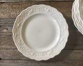 Set of 8 Embossed Salad Plates . Creamware . Ironstone . Scalloped Edge . Vintage Mismatched China . Ivory White Dishes . Shabby Chic