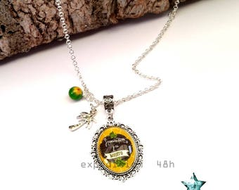 Necklace pendant, necklace, Mojito, I can't I mojito, yellow, green, summer, drink, holiday, toho, boho, gem cabochon.