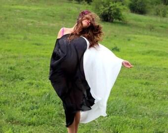 SALE ON 20 % OFF Black and White Maxi dress, Plus size dress, Cover up dress, Chiffon dress, Sun dress, Tunic, Maxi Top, Maxi tunic, Plus si