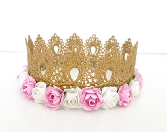 Lace Crown, Gold Lace Crown, Flower Crown, Gold Crown, Princess Crown