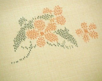 Handwoven Plum Blossom Vintage Japanese tsumugi raw silk kimono fabric