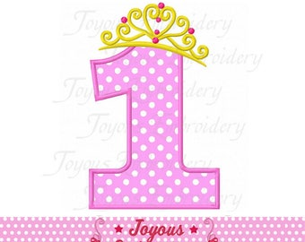 Instant Download Princess Crown Number 1 Applique Embroidery machine Design NO:2361