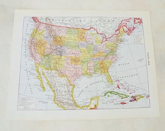 Vintage US Map from a French Atlas, Large Double Sided Color Map and B&W Economic Map, 9.5 x 12.5 inches