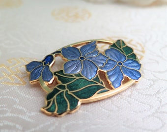 Vintage Cloisonne Enamel Brooch - Purple and Green Cloisonne Enamel Brooch - Flower Brooch - Brooch by Fish - Purple Brooch - Gift for Her