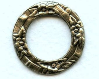 Floral Porthole Settings, Ox Brass, Outside Measurement 28.5mm, Inside Measrement 18mm, Round Flat Ornament, Jewelry Embellishment,