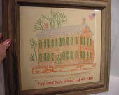 Lincoln Home 1861 Needle Point Cross Stitch - Framed Under Glass