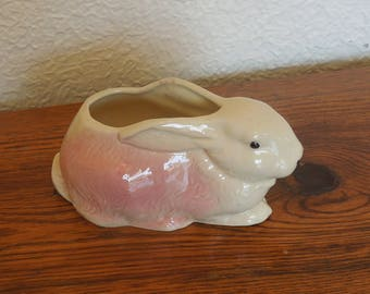Vintage Ceramic Bunny Rabbit Planter Pink and White
