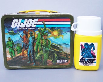 Vintage 1982 GI Joe Metal Lunchbox with Thermos Very Rare