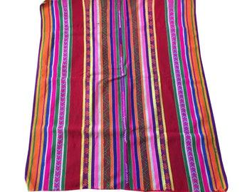 Ethnic Andean Handmade Peruvian tribal boho fabric manta textile upholstery aguayo loom  IP5