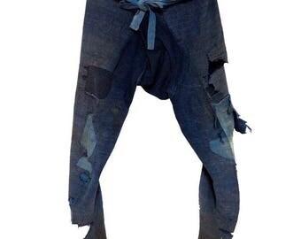 Ragged Japanese Momohiki, Indigo Cotton Worker/Laborer Trousers. Sale-235