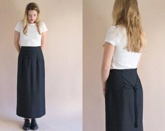 1970s Long Black Skirt - Vintage 70s Wool Lace Up Maxi Skirt - Nudo Skirt