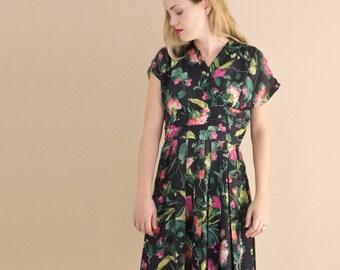 1950s Black Floral Dress - Vintage 50s Midi Dress - Botanica Dress