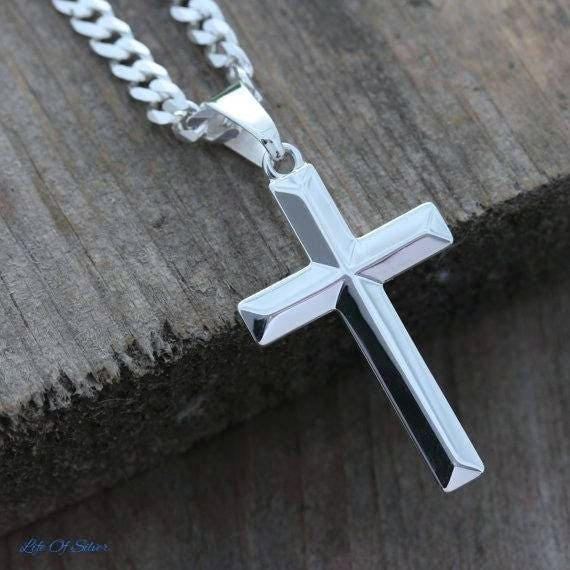 Sterling silver cross necklace elegant unisex sterling silver like this item aloadofball Choice Image