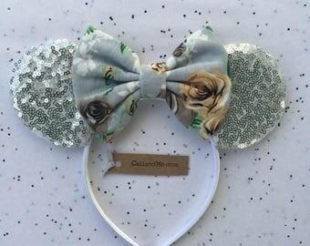 Flower and Garden Festival Disney Ears, Floral Minnie Mouse Ears, Floral Mickey Mouse Ears, Mouse Ears, silver and gray Mouse Ears