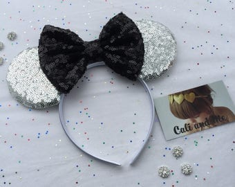Minnie Mouse Ears, Silver and Black Minnie Ears, Mickey Ears, Silver and Black Mouse Ears, Mouse Ears Headband, Mickey Ears, Minnie Ears
