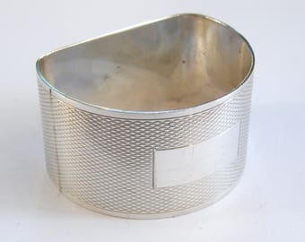 Vintage-Solid Sterling Silver Engine Turned Flat Back Napkin Ring-B'ham-c1963