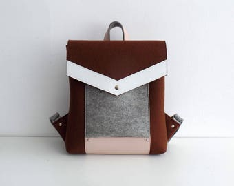 Felt Genuine Leather Backpack Brown Gray White Pink