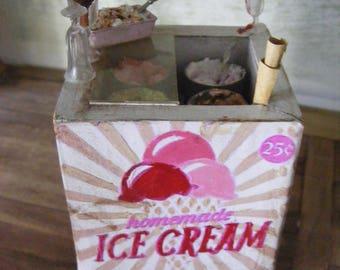 Dolls house icecream cabinet hand made