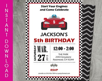 Race Car Party Invitation, Self Editable, Template, Go Kart Birthday, INSTANT DOWNLOAD, Doube Sided, Party Printable, Personalize, PDF File
