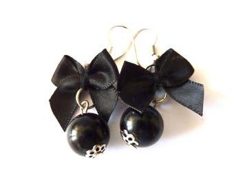 Pearl Earrings Bow Boho Earrings black