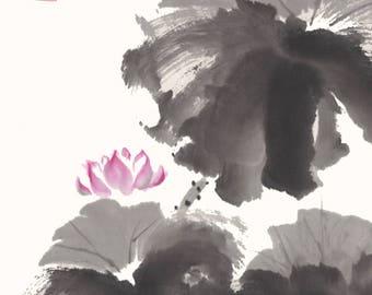 Pink Lotus with Ink Original Chinese Brush Painting