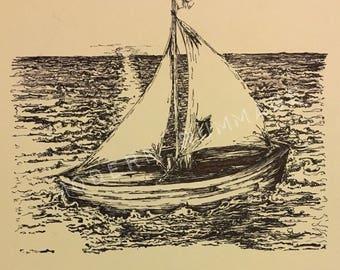 "Lonely Island 11""x15"" Ink sketch/Doodle: Original Art"