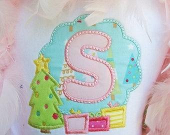 Christmas Tree & Presents Monogram - Christmas Custom Tee Shirt - Customizable