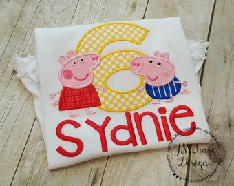 Peppa & George Pig Birthday Custom Tee Shirt - Customizable -  Infant to Youth 218b white