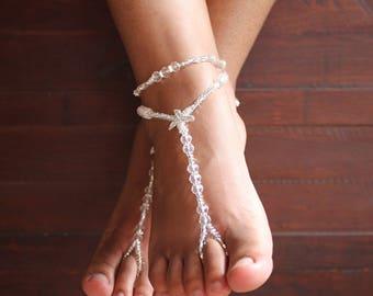 Crystal Barefoot Sandals Beach Sandals Starfish Foot Jewelry Starfish SAndals Soleless Foot Jewelry Bridal Shoes Weddings