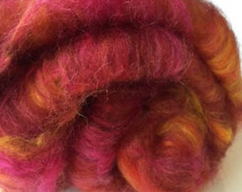 Carded Fibre Batt for Spinning and Felting/Art Batt/Spinning Pink Mix Camel and Silk