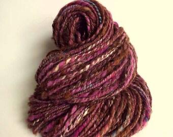 HOTCH POTCH YARN - Brown chunky wool, knitting or crochet yarn / wool, multicolored yarn, art yarn, merino, alpaca and silk
