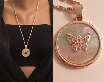 Rose Gold Mother of Pearl Necklace, Butterfly Necklace, Gift for Her, Long Gold Necklace, Circle Shape Gold jewelry, Birthday Gift