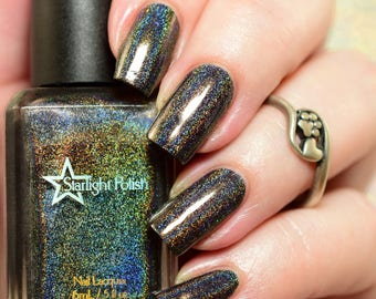 Longest Night Black Holographic Winter Holodays Warm Holo Indie Nail Lacquer Starlight Polish