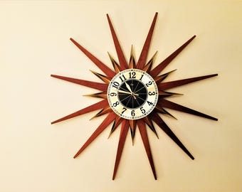 Gorgeous STARBURST CLOCK by ELGIN teak and brass mid century modern mint condition