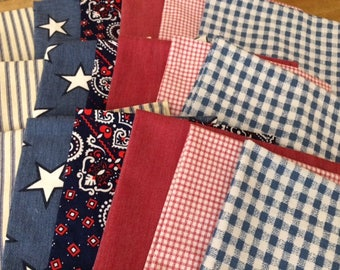 4th of July - Red, White and Blue, Cloth Napkins, Set of 6, Party Bundle, 15 inch, by CHOW with ME