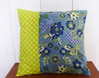 """Cushion cover 40x40cm Patchwork fabric blue and lime """"JUNGLE"""""""