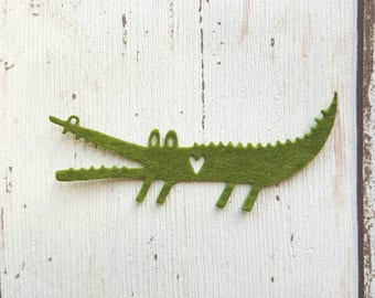Green Felt Crocodile, die cut crocodiles, felt die cuts, die cut alligator, crocodile applique, alligator applique, party decor, card making