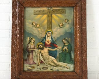 Antique Gesso Frame Religious Print Beneath the Cross