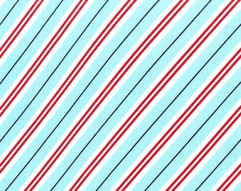 Christmas Fabric - Diagonal Stripe - Choose Aqua, Green or Red - Cotton Yardage - Michael Miller - Quilting - Fat Quarter, Half, By The Yard