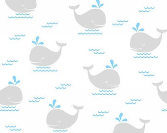 Whale Fabric - Fun and Games - Children's Cotton Material - Gray, Blue, White - Quilt and Apparel - Fat Quarter, By The Yard, Yardage