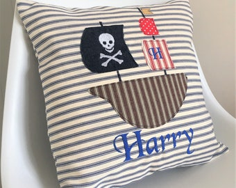 Personalised childrens cushion with Pirate ship applique