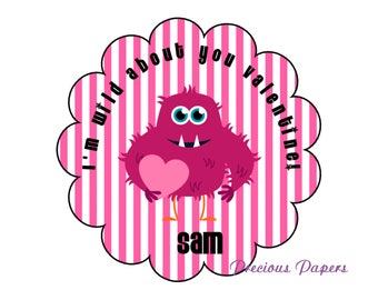 Personalized kids Monster Valentines Day stickers, Valentines Day kids Scalloped stickers