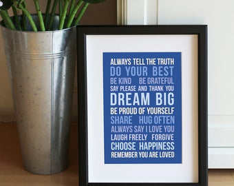 House Rules Mini Print Typography Motivational Quote Notecard Postcard